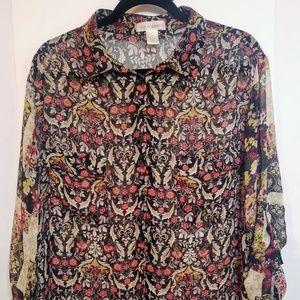 Band of gypsies BOHO Printed Sz XL Sheer Shirt